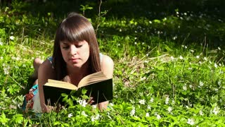 beautiful girl reading a book in forest on flowers field