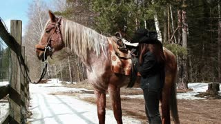 girl cowboy saddles a horse near a forest