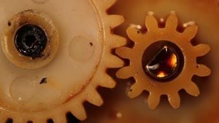rotating gears closeup