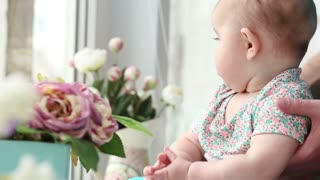 small child sees flowers on the window closeup