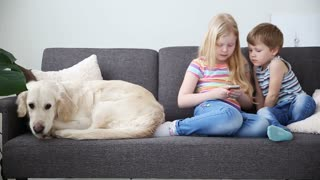 devices in the lives of children. little brother and sister playing on the smartphone in the game, sad dog lying side by side on the couch.