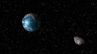 Asteroid encountering Earth