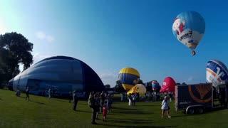 KIEL, GERMANY - JUNI 22, 2016: Hot Air Balloon Liftoff on the 10. International Balloon Sail in Kiel, Germany. Editorial only
