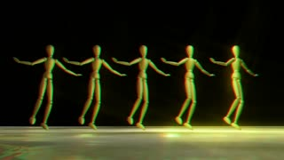 Manikins dancing Can Can stereoscopic