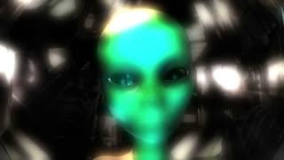 Digital 3D Animation of an Alien Head