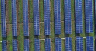 Aerial view of solar energy panels on sunny day, solar panels, Solar power plants.