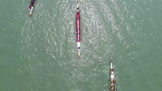 June 18, 2018. Suzhou city, China. Chinese traditional Dragon boats racing on Jinji Lake. Aerial view. Duanwu jie, dragon boat festival.