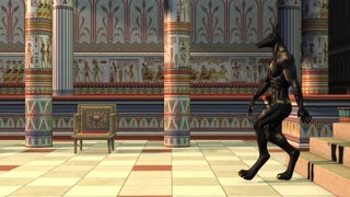 Anubis goes, Egypt, temple, animation