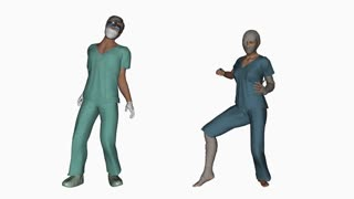Doctor and patient dance,loop,Alpha Channel