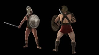gladiators fighting,loop, animation, Alpha channel, transparent background