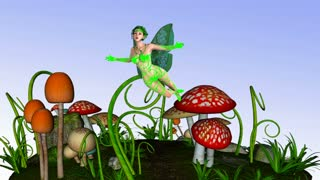 Magic Fairy Flies over the Meadow Mushroom