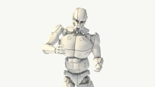 robot cyborg moves, animation, transparent background