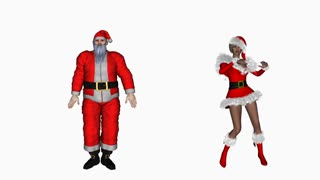 Santa Claus and Snow Maiden dancing, Alpha Channel,loop