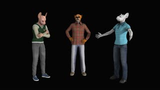 Three men in the form of dogs quarrel animation, Alpha channel