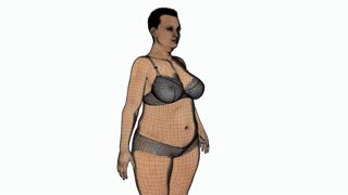 3d model of a woman losing weight, animation, transparent background