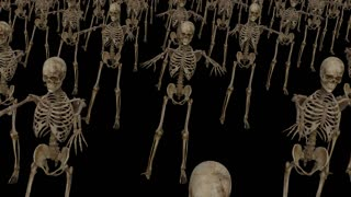 a crowd of skeletons moves forward ,Loop, Animation, Alpha Channel