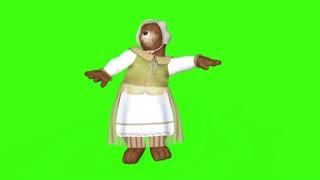 cartoon funny bear dances,loop,animation, green screen