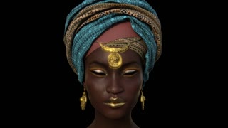 Face of a Beautiful African Girl, Animation, Alpha Channel