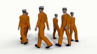 Men in the clothes of prisoners go around in circles, animation, alpha channel