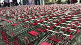 shopping trolleys in a shopping center