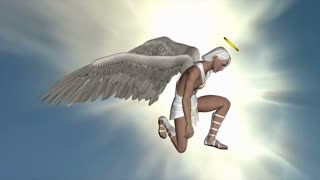 The angel inclined his knee and stood in the sky