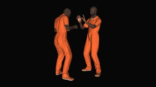 Two men in the form of prisoners is sparring animation, Alpha channel