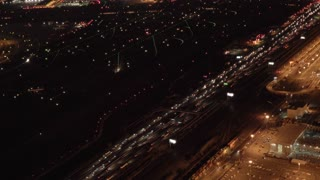 aerial view of cars traffic on highway road at night