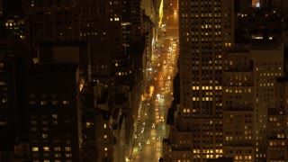 aerial view of city at night. traffic lights. urban street avenue background