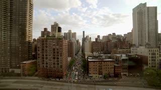 aerial view of city metropolis landmarks. urban street scene