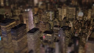 aerial view of city skyline metropolis buildings district at night light