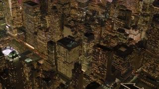 aerial view of dramatic city skyline panorama. metropolis urban scenery at night