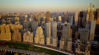 aerial view of dramatic city skyline panorama. metropolis urban scenery at sunset