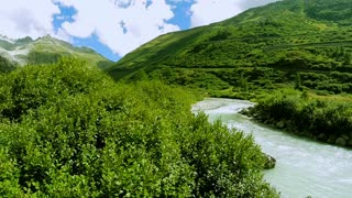 aerial view of epic mountain river landscape scenery. peaceful nature background
