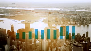 aerial view of new york city business district. financial sales data