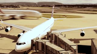airplane plane aircraft  - aviation business background - airport dock