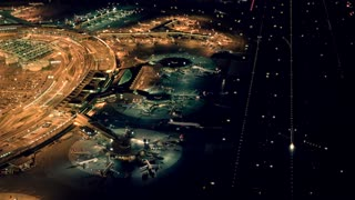 airport terminal station aerial view at night