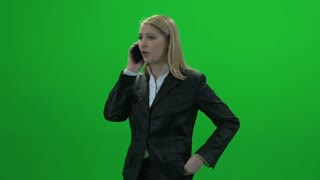 angry mad busyness blond women green screen