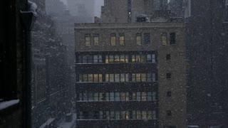 bad weather. winter season. urban city. new york