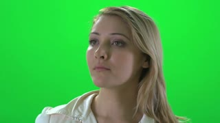 beautiful blond women portrait isolated green screen