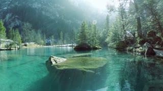 beautiful lake resort. aerial view. pond water nature.