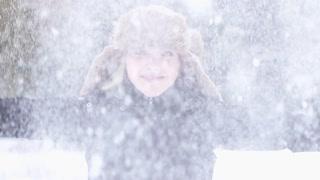 beautiful women outside in snow winter time slow motion