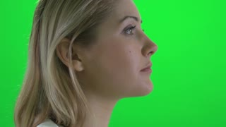 beautiful women portrait isolated green screen