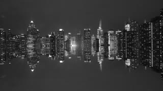 black and white background of cityscape and skyline at night