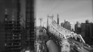 black and white scenery of bridge and urban background