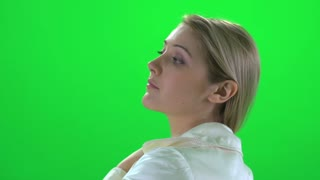 blond women touching hair isolated green screen