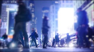 blurred background of people walking in the city at night