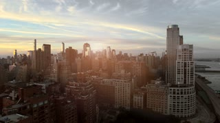 breathtaking helicopter shot of modern city panorama view. new york city background