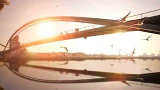 bridge panorama landscape. sunset dusk. water reflection. slow motion