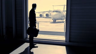 business passenger at airport boarding. airplane standing at airport terminal