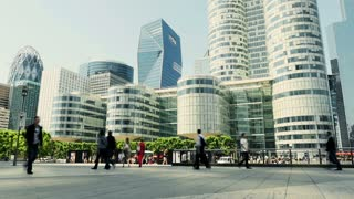 business people commuting to work in modern metropolis. urban city lifestyle background